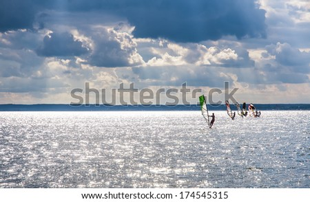 Windsurfing school - stock photo