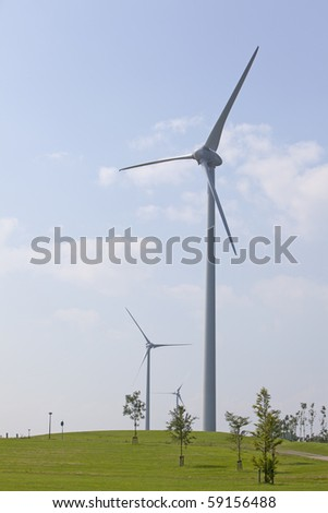 WindTurbine with blue sky and clouds