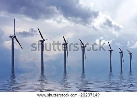 Windturbines in the IJsselmeer in the Netherlands