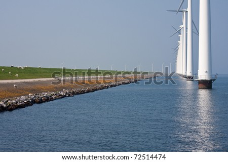 Windturbines in the Netherlands - stock photo