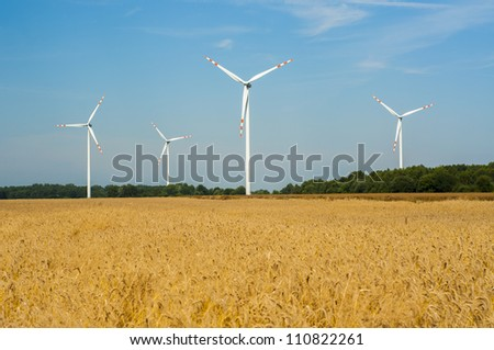 Windturbines in the summer time. - stock photo