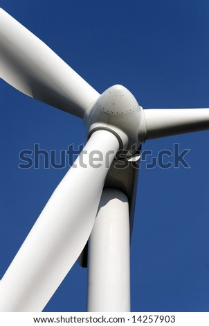 Windturbines producing clean energy in the netherlands - stock photo