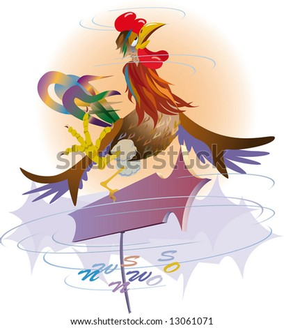 Windvane. A variable wind in the spring. Weather. vector. illustration. - stock photo