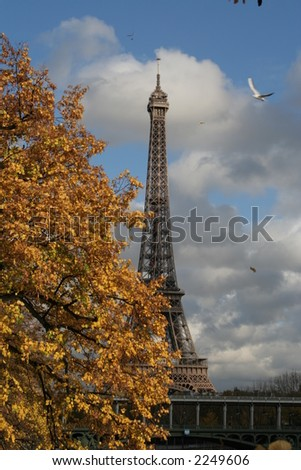 Windy autumn day in Paris