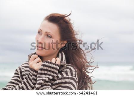 Windy autumn days relaxing on coast feeling good - stock photo