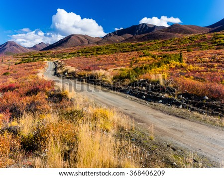 Windy Creek Road in the Clearwater Mountains near the Denali Highway in the Alaska Range - stock photo
