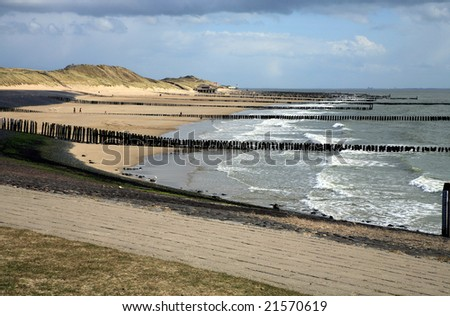 Windy day at the Sea North - beach in Netherlands