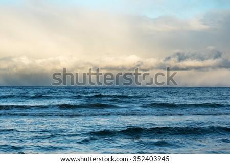Windy day in gulf of Riga, Baltic sea. - stock photo