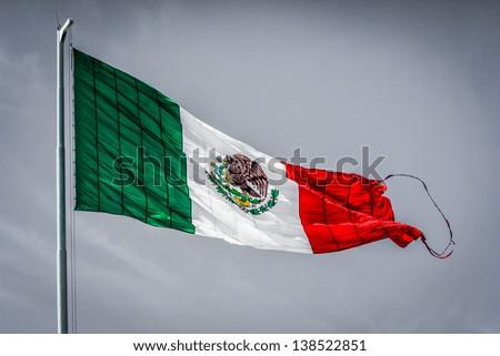Windy Mexico Flag - stock photo