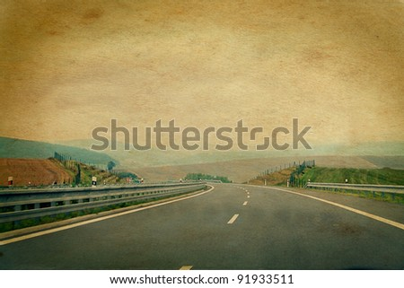 windy road picture aged and damaged in retro style - stock photo