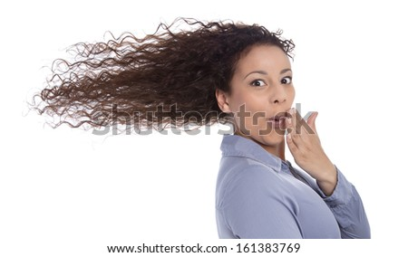 Windy : surprised woman with blowing hair in wind isolated on white background - funny eye catcher - stock photo