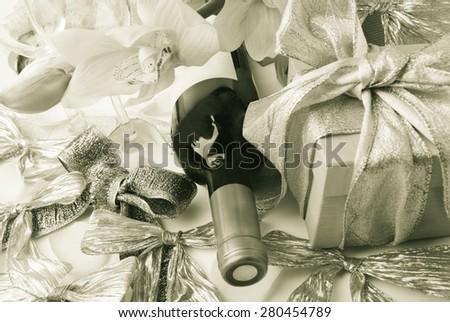 Wine abd gift - stock photo