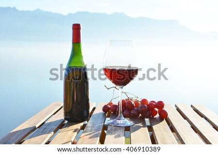 Wine against sky in Lavaux, Switzerland - stock photo