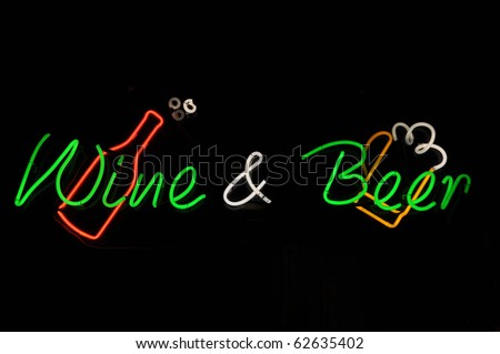 Wine and Beer Neon Sign - stock photo