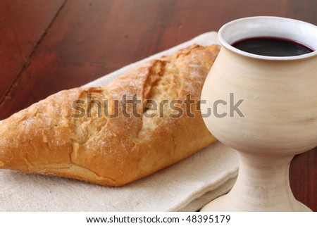 Wine and bread - stock photo