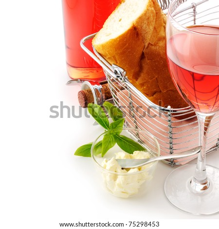 Wine and bread. - stock photo