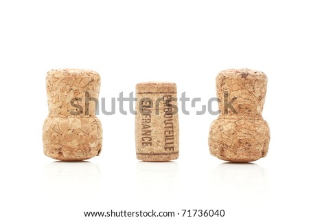 Wine and champagne corks isolated on white - stock photo
