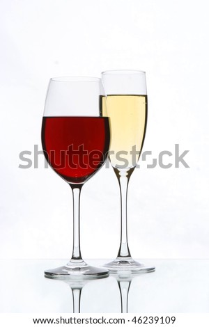 wine and champagne glasses - stock photo