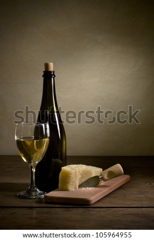 Wine and cheese - stock photo