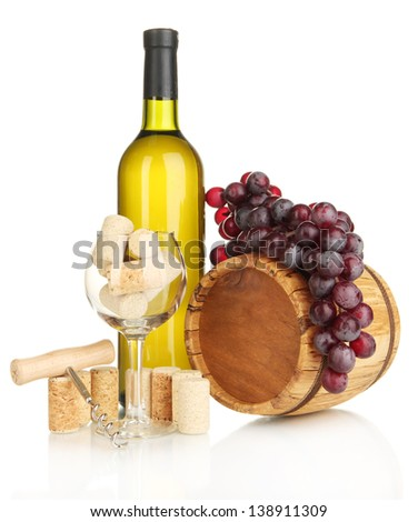Wine and corks isolated on white - stock photo