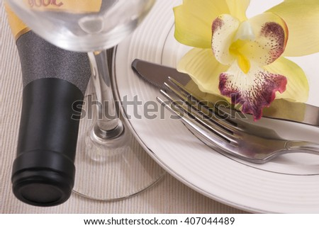 Wine and dishes - stock photo