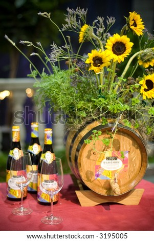 Wine and flowers - stock photo