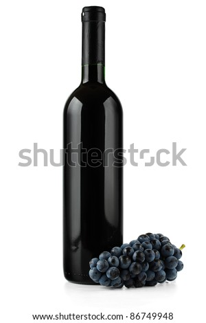 Wine and grapes. - stock photo