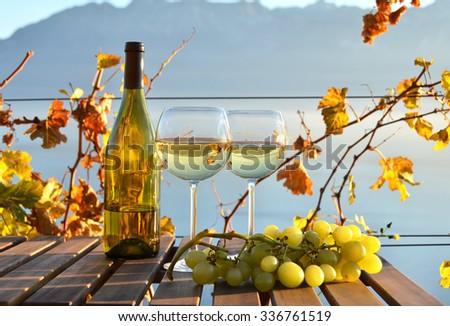 Wine and grapes against Geneva lake. Lavaux, Switzerland  - stock photo