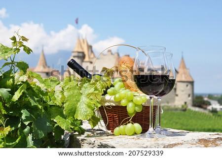 Wine and grapes. Chateau de Aigle, Switzerkand  - stock photo