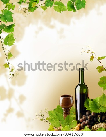 Wine and grapevine border - stock photo