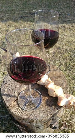 wine and meat - stock photo