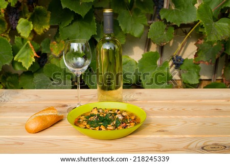 Wine and sea food - stock photo