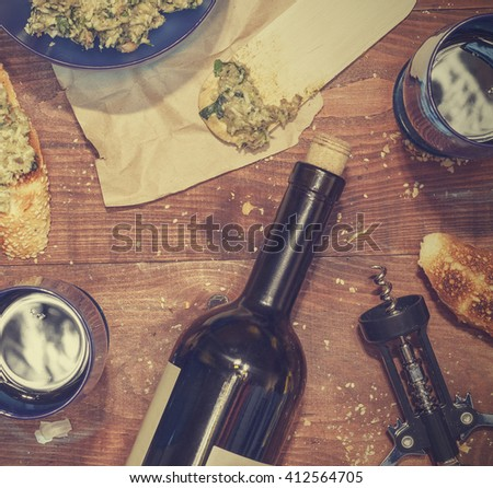 wine and snacks, top view, closeup. avocado and Arugula, closeup - stock photo
