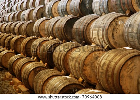 Wine and tequila barrels - stock photo