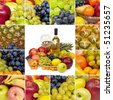Wine and tropical fruits - square collage - stock photo