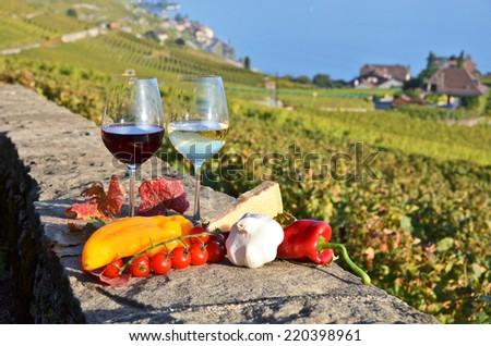 Wine and vegetables. Lavaux, Switzerland - stock photo