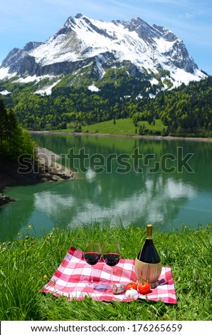 Wine and vegetables served at picnic on Alpine meadow. Switzerland  - stock photo