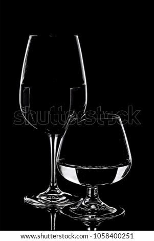 Wine and whiskey glasses illustration artwork in black and white
