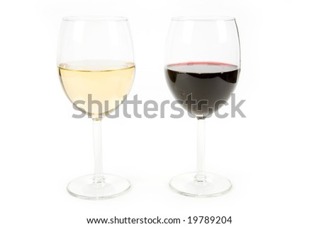 Wine and wineglass with white background