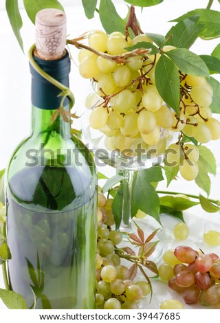 wine and young grape - stock photo