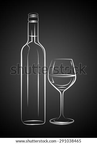 Wine art illustration - stock photo