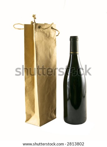Wine bag and a bottle of wine selected on a white background - stock photo