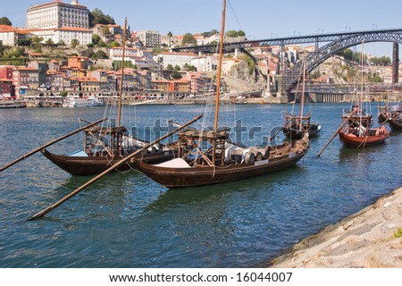 Wine barges in the Douro river - stock photo