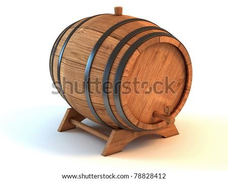 wine barrel 3d illustration isolated on the white background - stock photo