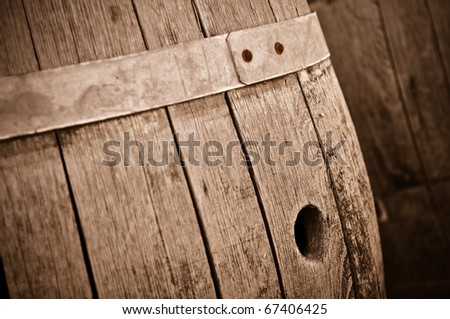 Wine Barrel in Cellar - stock photo
