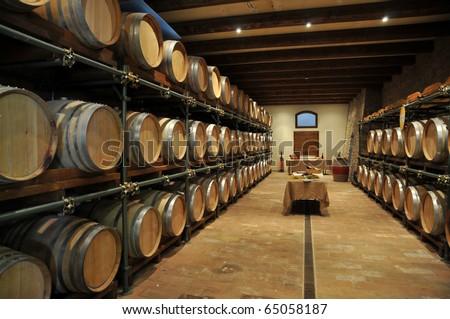 Wine barrel rack - stock photo