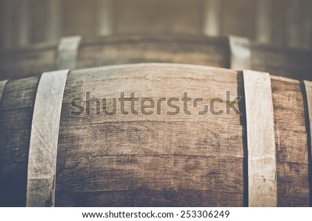 Wine Barrel with Vintage Instagram Film Style Filter, unfocused - stock photo