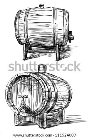 wine barrels - stock photo