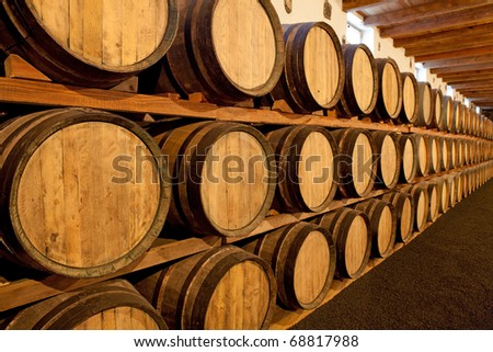 Wine barrels at a Bodega on Lanzarote - stock photo