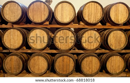 Wine barrels at a Bodega on Lanzarote, Spain - stock photo